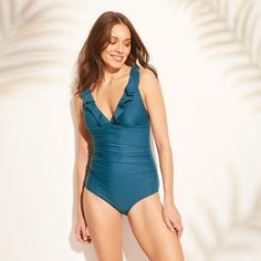 100d8a5549b Women s Mesh Inset Cheeky Monokini One Piece Swimsuit - Shade   Shore Olive  XL