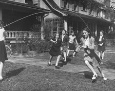 Kids jump rope, New York, 1947. Source          Kids playing jump-rope on the sidewalk in NYC, 1946. Source          A girl skips ...