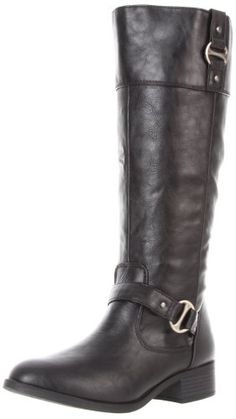 "Rampage Women's Iben Riding Boot -      $  59.95  Versatility and comfort combine in this essential cold weather bootPU-coated synthetic upper with strap and buckle accentsSide zipper closureLightly padded footbed1"" heel height  Modified harnesses le"
