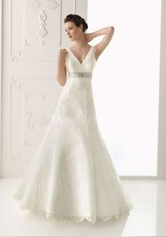 Elegant Organza V-neck A-line Wedding Dress picture 1