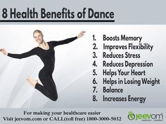 8 Health Benefits of Dance:  1. Boosts Memory 2. Improves Flexibility 3. Reduces Stress 4. Reduces Depression 5. Helps Your Heart 6. Helps in Losing Weight 7. Better balance 8. Increases Energy  #PreventiveHealthcare