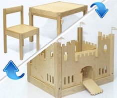 Wooden Castle -  Transformer - Children Desk and chair-Toy from Modular Building Pieces.