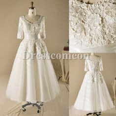 Plus Size Tea Length Wedding Dresses With Sleeves Ivory Tea Length Wedding Dresses ET065# on Etsy, $189.00