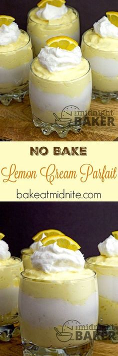 Lemon Cream Parfait: This no-bake creamy lemon dessert is full of lemony flavor with a velvety texture. 13 Desserts, Great Desserts, Summer Desserts, Delicious Desserts, Yummy Food, Holiday Desserts, Plated Desserts, Healthy Desserts, Lemon Dessert Recipes