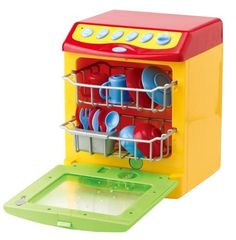 """My Dishwasher - Toy with Real Rinsing Water Action by Smyths Toys. $42.49. Have plenty of fun with your own pretend dishwasher.  Real water action in the door window.  Load and empty the 12 accessories included.  Realistic dishwasher functions and sounds.  Requires 3 AA batteries - not included.  10.5"""" tall x 7.5"""" wide x 6.5"""" deep."""