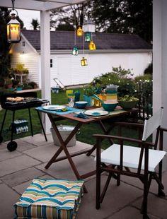 Teal Yellow, Home Channel, Garden Seating, Patio Gardens, Outdoor Spaces,  Outdoor Living, Patios, Lanterns, Garden Ideas