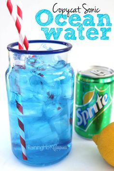Copycat Sonic Ocean Water - Sprite - Ideas of Sprite - Copycat Sonic Ocean Water Drink Recipe so delicious and refreshing! Copycat Sonic Ocean Water - Sprite - Ideas of Sprite - Copycat Sonic Ocean Water Drink Recipe so delicious and refreshing! Sonic Drinks, Blue Drinks, Kid Drinks, Yummy Drinks, Beverages, Pirate Drinks, Shark Week Drinks, Food And Drinks, Blue Curacao Drinks