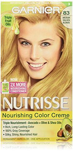 Garnier Nutrisse Nourishing Color Creme, 83 Medium Golden Blonde * Check out @ http://www.amazon.com/gp/product/B00182LOQS/?tag=passion4fashion003e-20&pq=100816104327