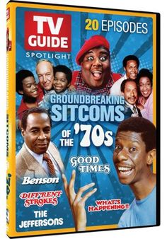 TV Guide Spotlight Groundbreaking Sitcoms of the DVD by Mill Creek Entertainment; packed with 20 episodes from your favorite families of the from What's Happening!, The Jeffersons, Good Times, Diff'rent Strokes and Benson 70s Sitcoms, Black Sitcoms, 1970s Tv Shows, Old Tv Shows, Black Tv Shows, Vintage Tv, Vintage Black, Episode Guide, Tv Land