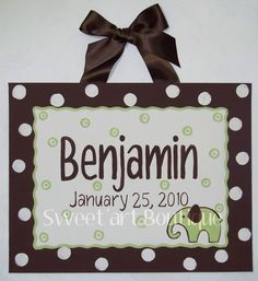 Elephant Dots Brown Green Custom canvas letter by Sweetartandparty, $28.00