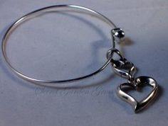 $37.95 Double Heart Charm Pendant Wire Cuff Bracelet