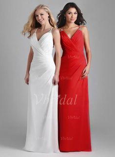 Mother of the Bride Dresses - $137.29 - Sheath/Column V-neck Floor-Length Chiffon Mother of the Bride Dress With Ruffle Beading (00805007607)