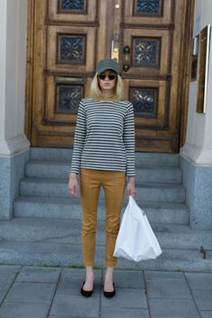 hat, glasses, stripey tee, cropped pants - my fall uniform