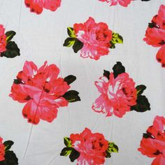 * Fabric: Pure Cotton.  * Print: Floral Print  * Color: White  * Transparency: Non-Transparent * Width: 40 Inches(Approx)