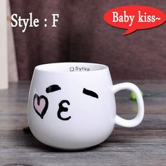 320ml Creative Cute Expression Ceramic Mugs Water Container Cups And M – Big Shop At Home