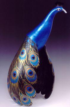 Beauty Blue peacock gourd - by artist ©Larry McClelland - http://www.gourdfestival.com/larrymcclelland.shtml