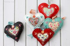 Felt Heart Valentines, cute with hand embroidery and filled with stuffing and lavender