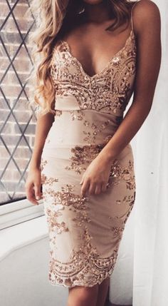 Rose gold sequin midi dress. Slit in back. Pinned by Chrissy Kapp Blair Pinterest.com Bella Sequin