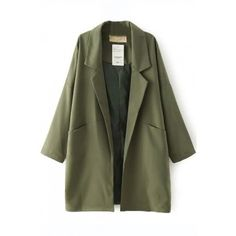LUCLUC Army Green Boyfriend Coat ($33) ❤ liked on Polyvore featuring outerwear, coats, olive green coat, boyfriend coat, olive coat and army green coat