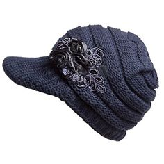 Women's Cable Knit Visor Hat with Flower Accent Navy Blue Color