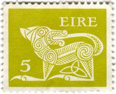 Ireland postage stamp: green Gerl c. 1971 designed by Heinrich Gerl