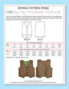 2ed4bd1d82 Boys Vest Sewing Pattern - BOYS VEST (P306)