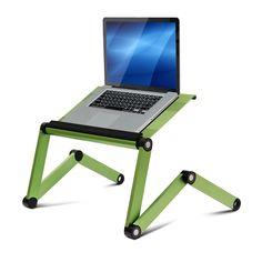 Furinno Ergonomics Aluminum Vented AdJustable Multi-functional Laptop Desk Portable Bed Tray, Green (A6-Green)