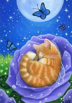 Fairy angel kitten cat butterflies rose moon fantasy original aceo painting art