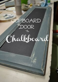Cupboard Door Chalkboard – Red Cottage Chronicles I am loving my new Chalk Paint Cupboard Door Chalkboard. Who would of thought I was too intimated to try painting with chalk paint? I am hooked! Cabinet Door Crafts, Old Cabinet Doors, Kitchen Cupboard Doors, Old Cabinets, Cabinet Fronts, Kitchen Cabinets, Painted Cupboards, Painted Doors, Diy Cupboards