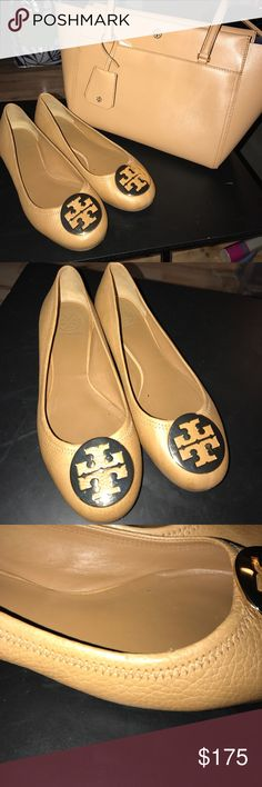 Tory Burch Flats Tory Burch Reva flats. Small scuff on right shoe by toe (as pictured) Ask about bundle deal with matching bag!! Tory Burch Shoes Flats & Loafers