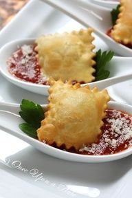 Once Upon a Plate: Appetizer Spoons ~ Crispy Ravioli with Marinara - I like to dip them in oil and then bread crumbs and then bake! You can even fry them in light olive or grapeseed oil.