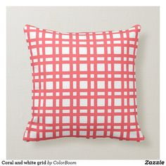 Coral and white grid throw pillow Pink Cushions, Decorative Cushions, Tiffany Blue, Custom Pillows, Trellis, Bright Pink, Grid, Hot Pink, Pink