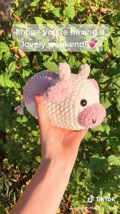 Crochet Animal Patterns, Stuffed Animal Patterns, Crochet Patterns Amigurumi, Crochet Animals, Crochet Stitches, Crochet Cow, Kawaii Crochet, Cute Crochet, Crotchet