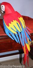 Hand Made&Painted-STUFFED Plush FABRIC McCAW Parrot-ANGELITOS-El Salvador-HANGS!