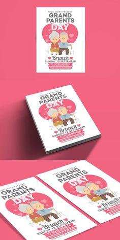 Grandparents Day Brunch Flyer Template PSD #unlimiteddownloads