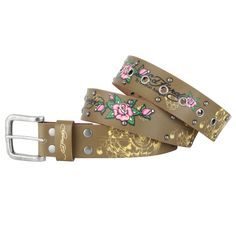 The The Ed Hardy EH3324 Womens Rose Winds Leather Belt  is one of most popular belts and is part of the Ed Hardy Belt Collection. It features include: signature Ed Hardy logo tattoo inspired design, at $29.00  http://www.bboescape.com/products/buy/864/gifts/Ed-Hardy-EH-Womens-Rose-Winds-Leather-Belt