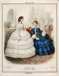In the Swan's Shadow: Le Bon Ton, March 1857  Civil War Era Fashion Plate