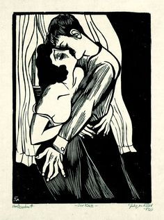 Conrad Felixmüller - Der Kuss, Holzschnitt , 1930