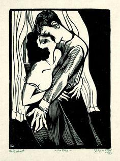 Der Kuss, Holzschnitt , 1930 by Conrad Felixmüller, (German 1897-1977)