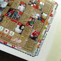 Inspiration: Life 365 album by dotted with dots. Photos and journaling on monthly calendar pages.