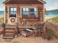 Ocean Treasures, another giclee, personally enhanced and then hand by the artist, Janet Kruskamp. This adorable little one room building at. Arte Country, Driftwood Sculpture, Ocean Scenes, Les Cascades, Beach Art, Stretched Canvas Prints, Home Art, Find Art, Illustration Art