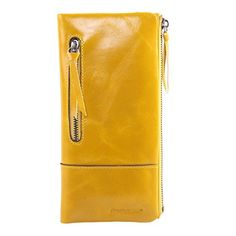 AINIMOER New Women Fashion Waxy Leather Vintage Billfold Long Wallet Casual Simple Style Mini Clutch Card Holder Zipper Closure Money Clip(Yellow) - Brought to you by Avarsha.com