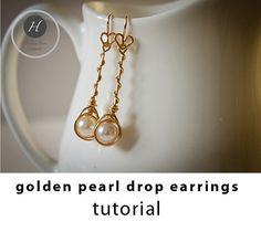 Gold Pearl Drop Earrings tutorialdiy by HelenaBausJewellery Wire Jewelry Earrings, Diy Jewellery, Pearl Drop Earrings, Diy Earrings, Earrings Handmade, Unique Jewelry, Handmade Jewelry Tutorials, Earring Tutorial, Gold Pearl