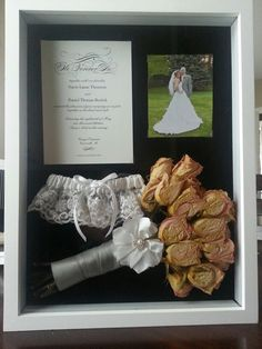 Must do!! Wedding shadow box. Invitation, garter, bouquet, photos