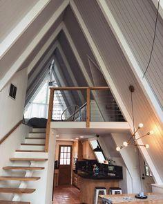 Tiny House Cabin, Tiny House Living, Tiny House Design, Cabin Homes, Loft House, Living Room, A Frame House Plans, Loft Stairs, House Ideas