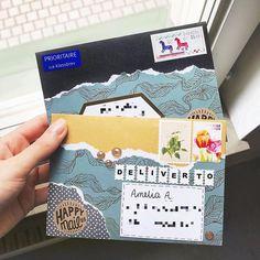 Pen pal envelope by happykittymail Pen Pal Letters, Cute Letters, Letters Mail, Cadeau Parents, Aesthetic Letters, Mail Art Envelopes, Cute Envelopes, Snail Mail Pen Pals, Snail Mail Gifts