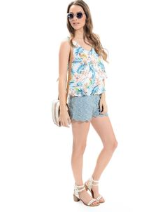 Crossed Out Floral Blouse White/Blue | ModDeals.com