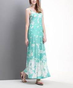 Another great find on #zulily! Aqua Floral Maxi Dress - Women by Reborn Collection #zulilyfinds
