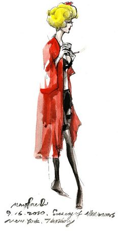 """Fashion Illustrator Mengjie Di: Ink Colored Drawing from """" Society of Illustrators"""" Thursday night Jazz and life drawing"""