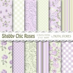 Shabby Chic Cottage Lilac Green Roses Digital Scrapbook Paper Pack BUY 2 GET 1 FREE